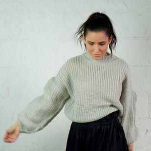 Sweaters - 🔃 NOELLE Grey Baloon Sleeve Knit Sweater
